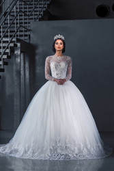 Long Sleeve 2018 Beaded Ball Gown bridal Gowns Lace Floor Length Robe de Mariage Vestido Noiva mother of the bride dresses
