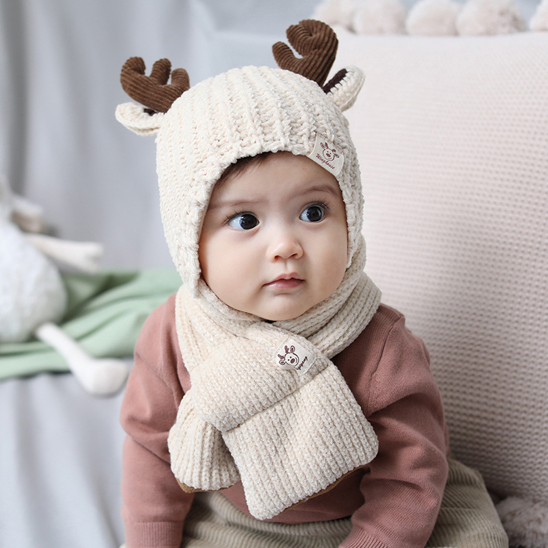 New Knitted Baby Hat Scarf Set Warm Soft Cute Antlers Hat Autumn Winter 2019 Christmas Gifts