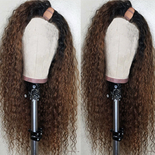 U-Part Wig Human-Hair Curly Dark-Brown Black Ombre Women Brazilian for Remy Color-1b-/4-