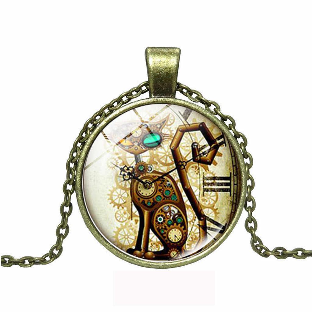 Szklany naszyjnik kaboszonowy Steampunk zegar naszyjnik szklana kopuła wisiorek ręcznie robiona biżuteria wzór motyl