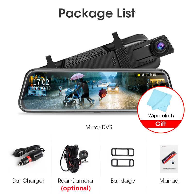 Jansite 10 polegadas tela de toque 1080p carro dvr fluxo mídia traço câmera dupla lente gravador vídeo espelho retrovisor 1080p câmera traseira