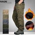Мужские брюки-карго, флисовые плотные теплые брюки с несколькими карманами, прямые брюки на молнии в стиле милитари, длинные брюки, верхняя ...
