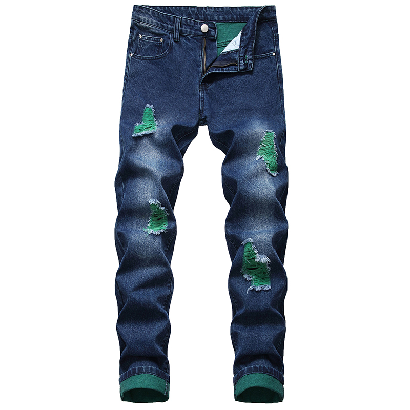 Men Casual Street Mounted Motorcycle Jeans Holes Men Jeans Blue Black Men Fashion Jeans