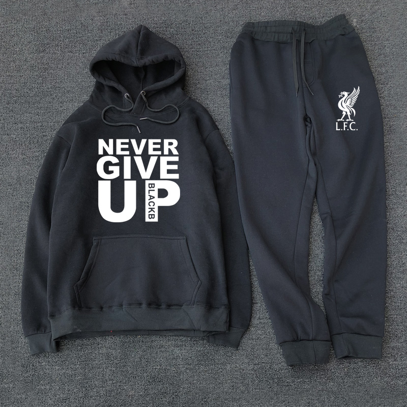 New 2019 Tracksuit Fashion Liverpool Football Sportswear Two Piece Sets All Cotton Fleece Thick Hoodie+Pants Sporting Suit Male