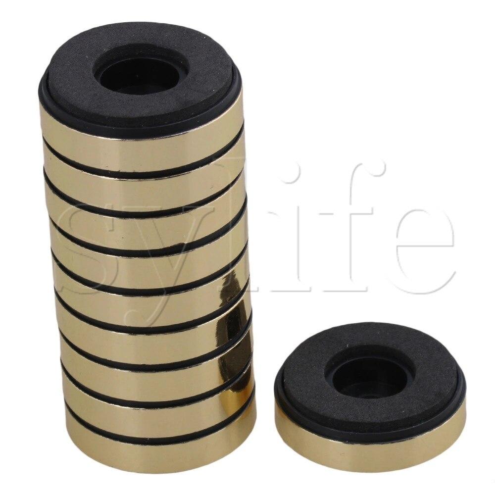 10pcs Gold Round Isolation CD Player Audio Speaker Anti Vibration Feet Pad Stand
