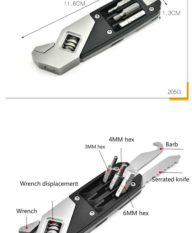 17 в 1 регулируемый гаечный ключ из нержавеющей стали складной многофункциональный инструмент EDC Многофункциональный ключ с отверткой оборудование для кемпинга