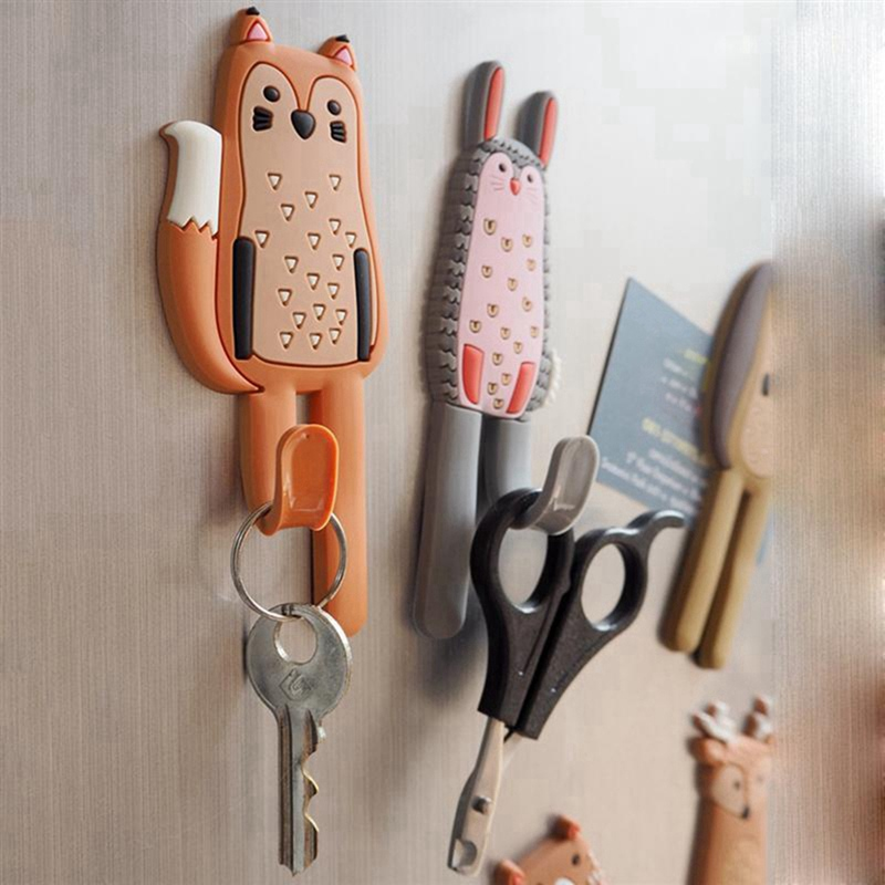 Cute Animal Magnetic Hooks Multifunctional Removable Decorative Fridge Sticker Message Refrigerator Magnets Key Storage Holder B