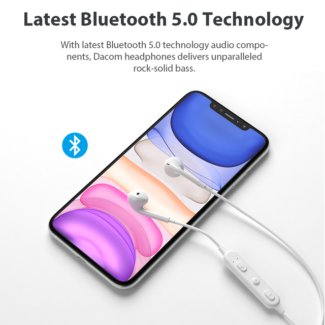 DACOM G03T Bluetooth Headphones V5.0 Wireless Headsets Built-in Mic Stereo Sports Bluetooth Earphones for iPhone Samsung Xiaomi