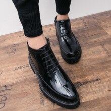 Hidden Heels 6cm Patent Leather Boots Men Autumn New Fashion High Quality Black Cowboy Boots Mens Dress Boots Botas De Trabajo54