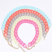 Acrylic Chain Long Necklace Bohemian Plastic Chain Chunky Transparent Collar Necklaces & Pendants Women Statement Jewelry trendy crystal statement necklaces pendants women jewelry multi link chain rhinestone necklace bijoux colares n316
