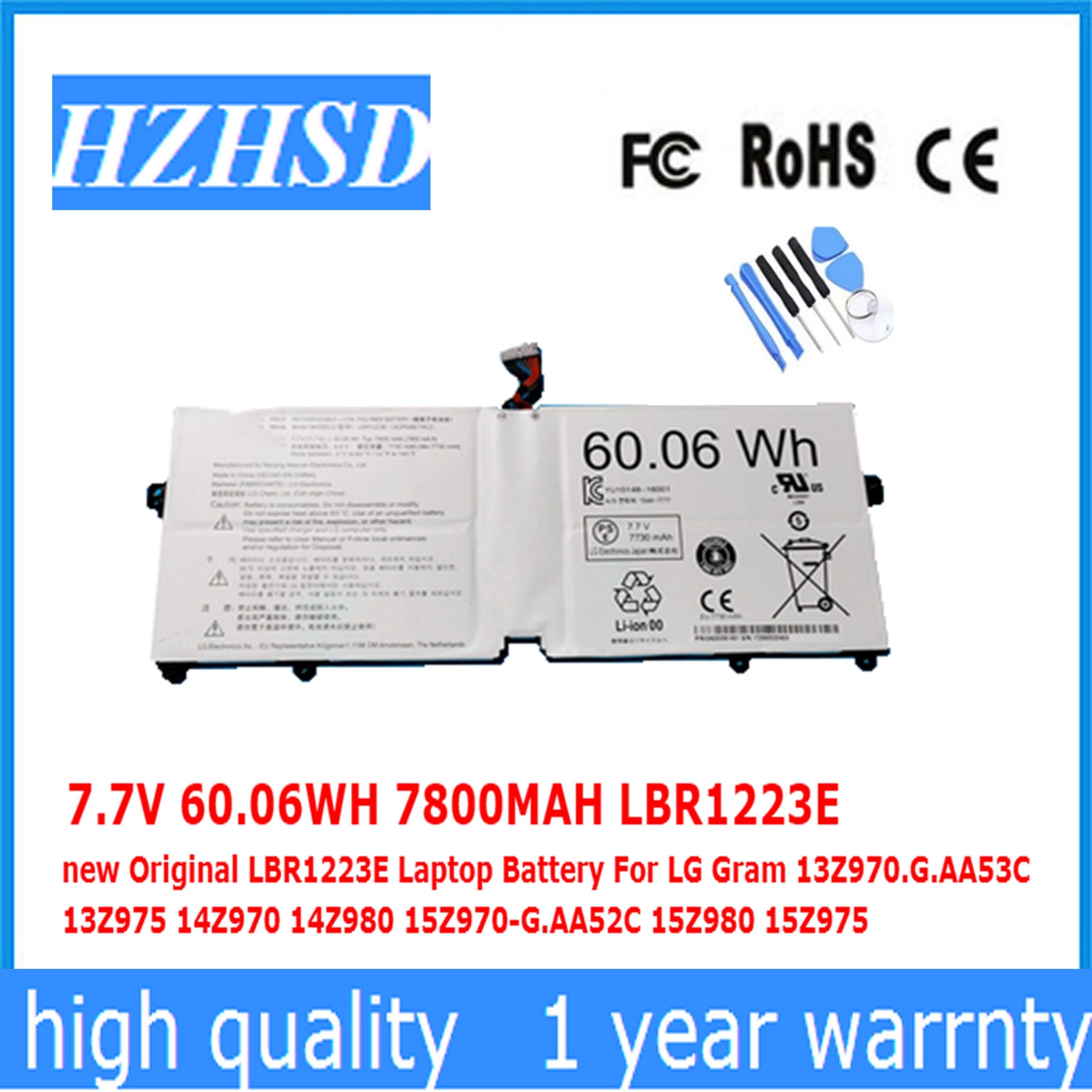 7.7V 60.06WH 7800MAH LBR1223E new Original LBR1223E Laptop Battery For LG Gram 13Z970.G.AA53C 13Z975 14Z970 14Z980 15Z970-G.AA