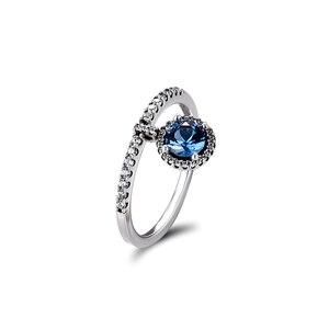 Image 4 - Autentico anello in argento Sterling 925 con pendenti rotondi scintillanti per le donne gioielli fai da te che fanno anelli regalo per la festa nuziale di fidanzamento