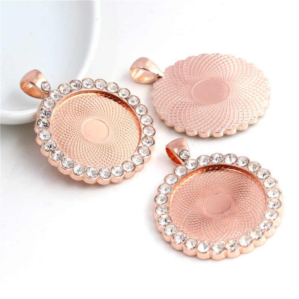 New Fashion 2pcs 25mm Inner Size Light Rose Gold Color Transparent Rhinestone Cabochon Base Setting Charms Pendant (A3-19)