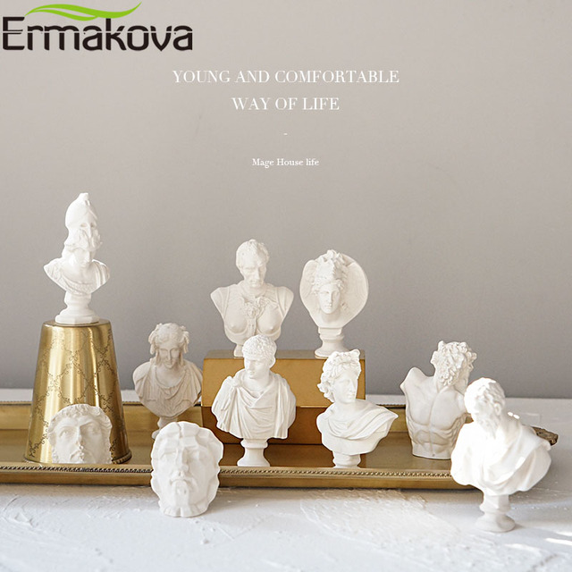ERMAKOVA 10 Pcs/Set Different Plaster Bust Figurine Mini Ancient Greek Roman Mythology Figure Bust Sketch Statue Home Decoration 2