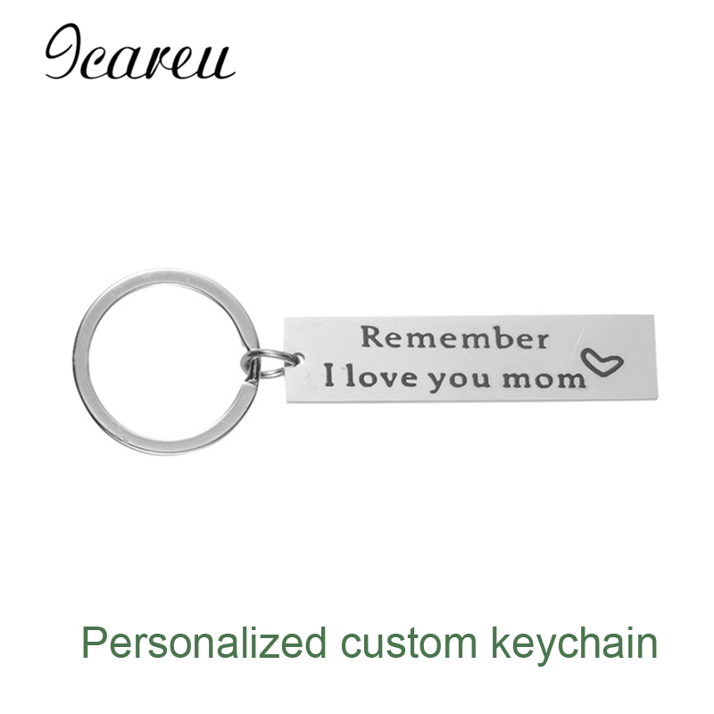 Fashion Customized Keychain Stainless Steel Keyring custom photo and letter Keychain For Mom Gift I Love you Mom