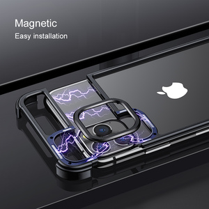 Image 4 - Funda de teléfono con marco de Metal para iPhone 11 11 pro, carcasa magnética para teléfono iPhone 11 pro max
