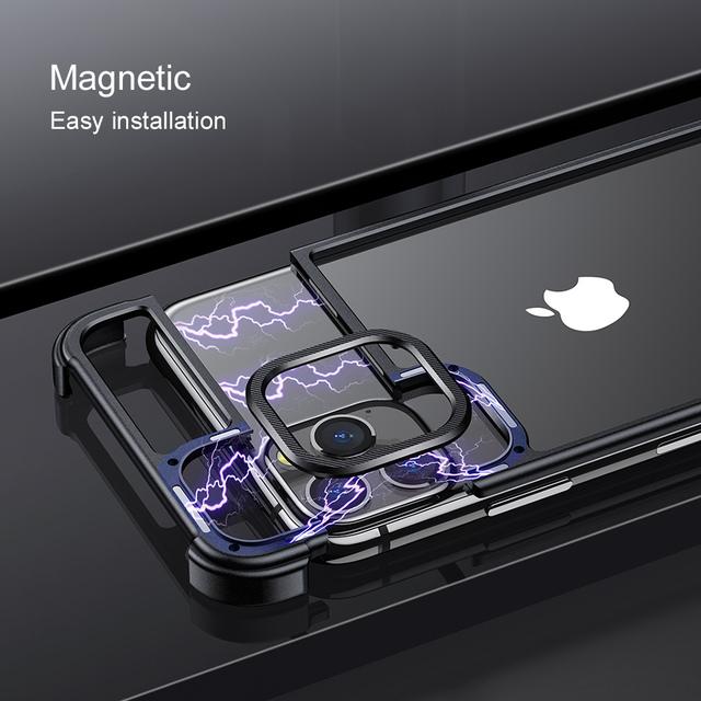 iPhone 11 Pro Max Magnetic Drop-proof Metal Bumper Back Case Cover
