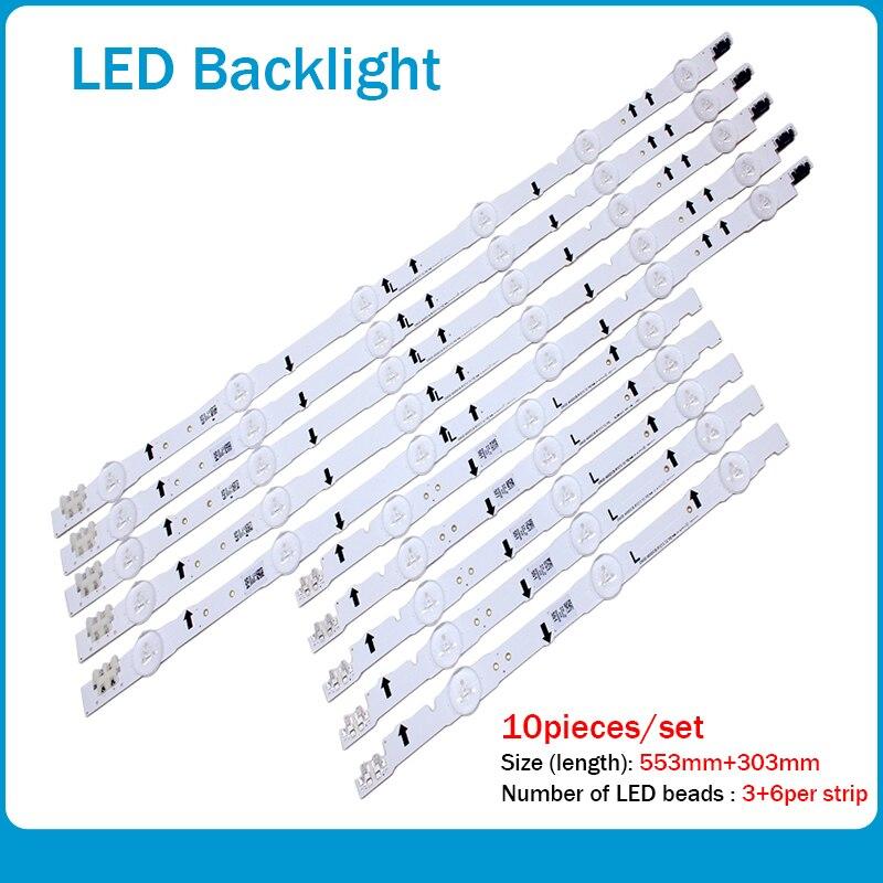 New 10 PCS/set LED Strip For Samsung UE40H6500 D4GE-400DCA-R2 R1 D4GE-400DCB-R2 R1 BN96-30449A 30450A BN96-38889A 38890A 30417A