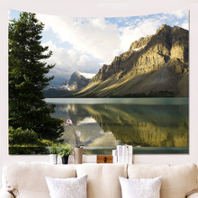 Mountains Landscape Forests Tapestry Wall Hanging Tapestries Hippie Hippy Wallpaper Home Decoration Table Cloth hanging mountains boat lake wall tapestry