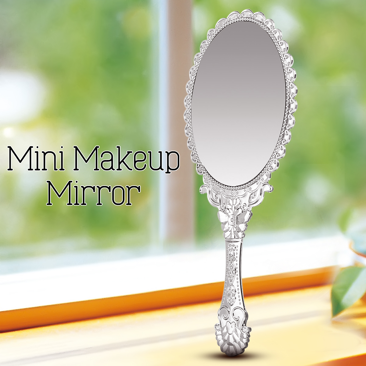 Silver Vintage Handle Mirror Ladies Floral Repousse Oval Round Makeup Hand Hold Mirror Princess Lady Makeup Beauty Dresser Gift