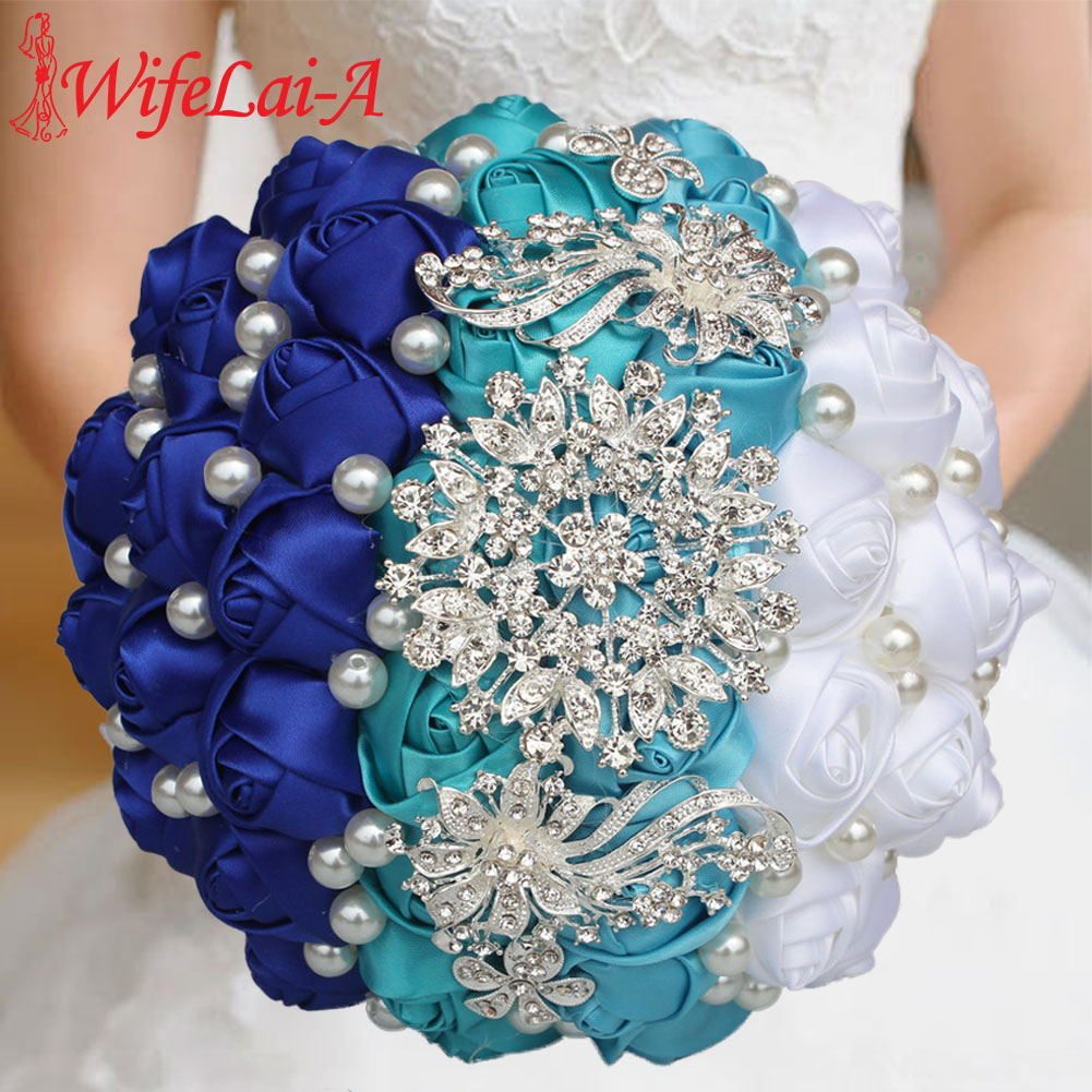 WifeLai-A Different Styles Silk Rose Artificial Flower Bouquet Wedding Flowers Bridal Bouquets Bridesmaid Holding Flowers W240