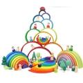 Baby Spielzeug 12 Stücke 6 stücke Regenbogen Blöcke Holz Spielzeug Für Kinder Große Kreative Regenbogen Bausteine Montessori Pädagogisches Spielzeug