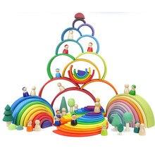 Jouets en bois arc-en-ciel pour bébé, blocs de construction, 6/12 pièces, jeu éducatif et créatif Montessori pour enfants
