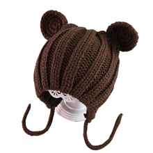 цена на With Ears Kids Hat Children Gift Thick Lace-up Bonnet Cap Knitted Cute Baby Ear Protection Cartoon Soft Winter Solid Warm
