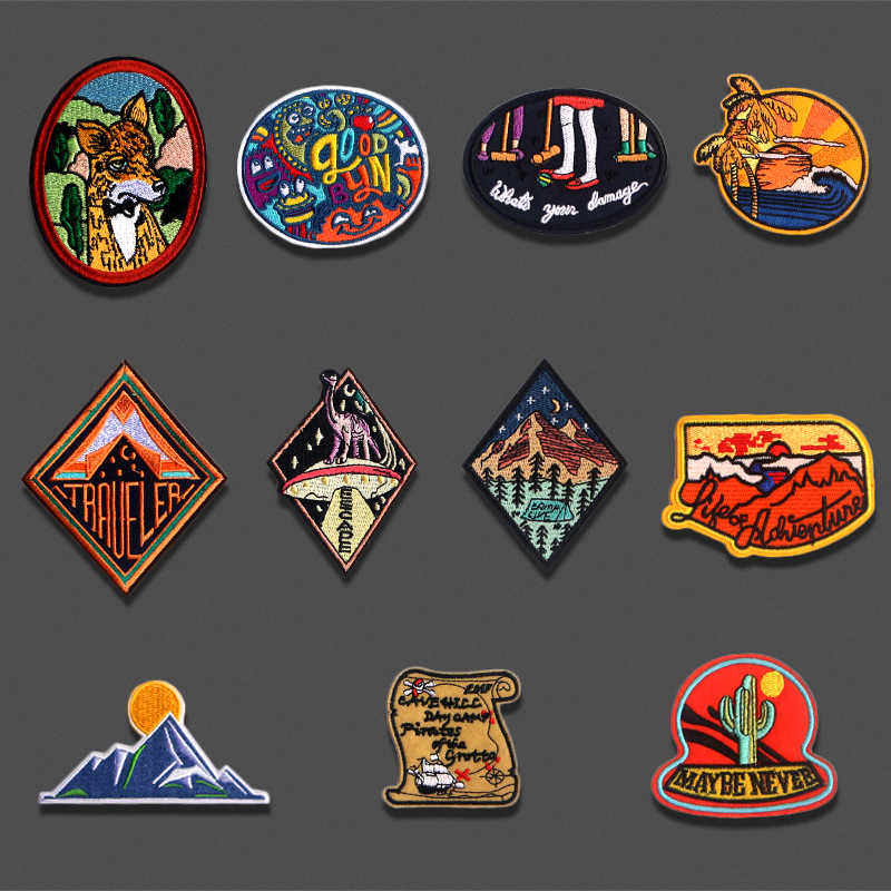 Mountain Sunrise Rhombus Embroidered Patches Iron On For Clothing Hat DIY Stripes Applique Badge Stickers Jacket Clothes