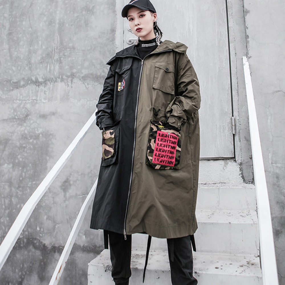 Windbreaker Female Long Section Korean Version Spring And Autumn 2020 New Stitching Retro Loose Autumn Clothing Hooded Jacket