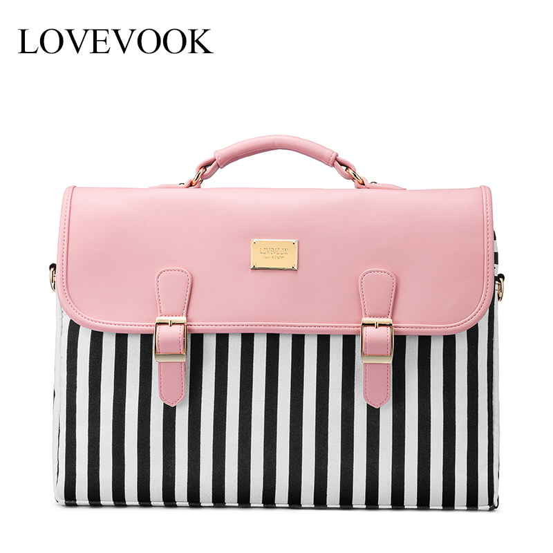LOVEVOOK women handbag fashion stripe canvas laptop bags for office ladies 2020 women shoulder crossbody bag for business trip image