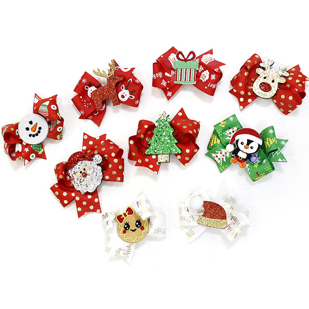 16Pcs/Lot 3'' Small Christmas Print Hair Bows Cute Glitter Elk Hair Clips For Kids Festival Gift Snowman Hair Accessories