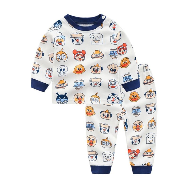 2PCS Cotton Children's Suit Bread Superman Long Sleeve T-shirt+pants Infant Baby Boy Girl Underwear Clothes Set