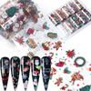 10pcs Christmas Nail Foil Xmas Nail Transfer Sticker Snow Flower Elk Gift Santa Decal Winter Design Nail Art Decoration JI1037