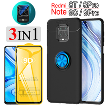 Matte Business Style Case with Ring for Xiaomi Redmi Note 9 Pro 9S 8T 8 Pro Tempered Glass Redmi Note 9 Pro Camera Lens Film