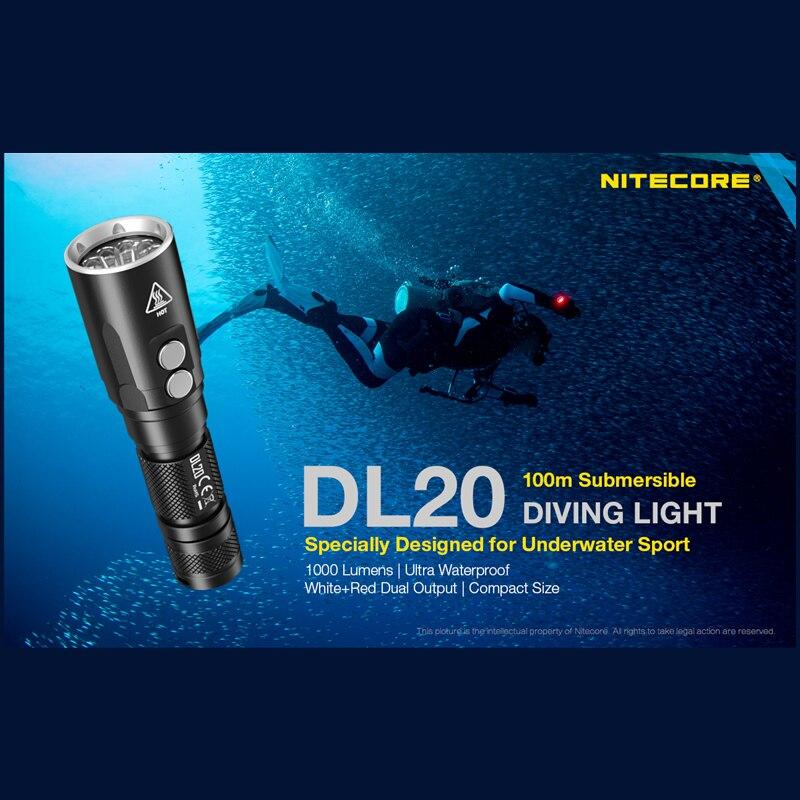 nitecore dl20 mergulho lanterna 1000lumens branco 01