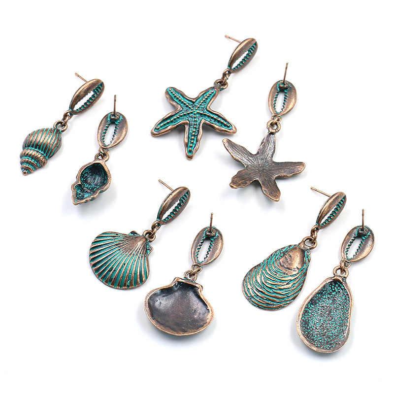 Korea Musim Panas Pantai Shell Drop Anting-Anting untuk Wanita Vintage Logam Pemalas Pribadi Telinga Perhiasan Anting-Anting Menjuntai Bohemian