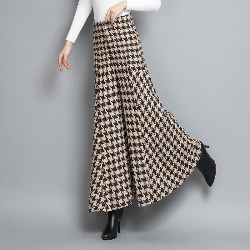 Woolen Lattice Loose Capri-Pants Skirt Pants Autumn Winter Women Flare Pants Vintage High Fashion Trousers Plaid Wide Leg Pants
