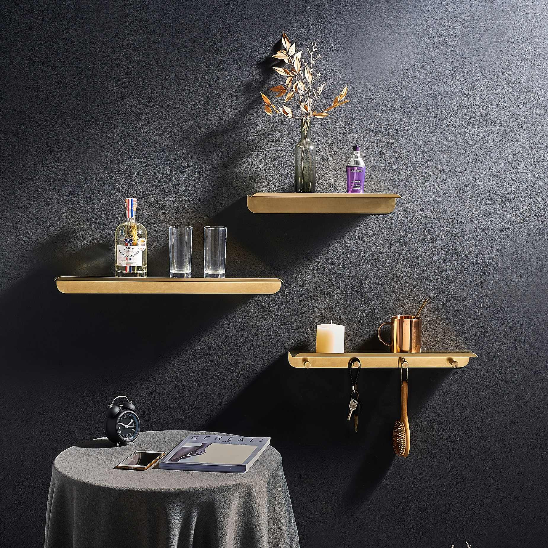 Floating Shelves Stainless Steel 304 Trays Bookshelves Display Modern Bedroom Wall Mounted Metal Storage Shelf Simple Design Decorative Shelves Aliexpress