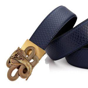 Image 4 - Men's Leather Ratchet Dress Belt with Automatic Buckle Fashion Men Automatic Buckle Belt Luxury Men`s Leather Belts alloy buckle