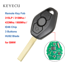 Keyecu 3 أزرار 315LP MHZ 315MHz 433MHZ 868MHZ مفتاح بعيد مع ID7944 ID46 رقاقة ل BMW CAS2 5 سلسلة E46 E60 E83 E53 E36 E38