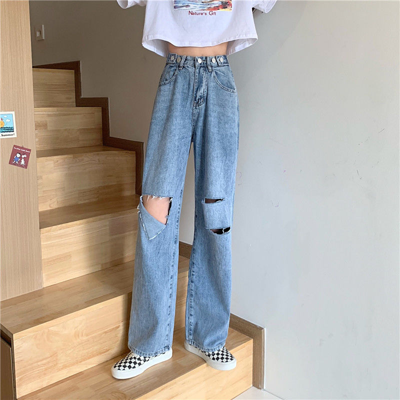 New Vintage Loose Jeans For Women Jeans Hole Blue Denim Pants  Streetwear High Quality High Waist Wide Leg Women Jeans Trousers