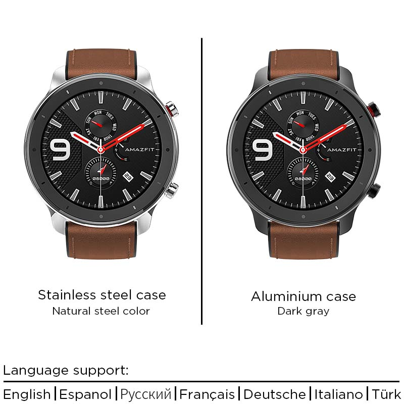 Image 4 - In Stock New 2019 Amazfit GTR 47mm Smart Watch 24Days Battery 5ATM Waterproof Smartwatch Music Control Global Version-in Smart Watches from Consumer Electronics