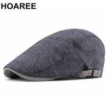 Кепка hoaree мужская из хлопка и льна регулируемый берет в британском