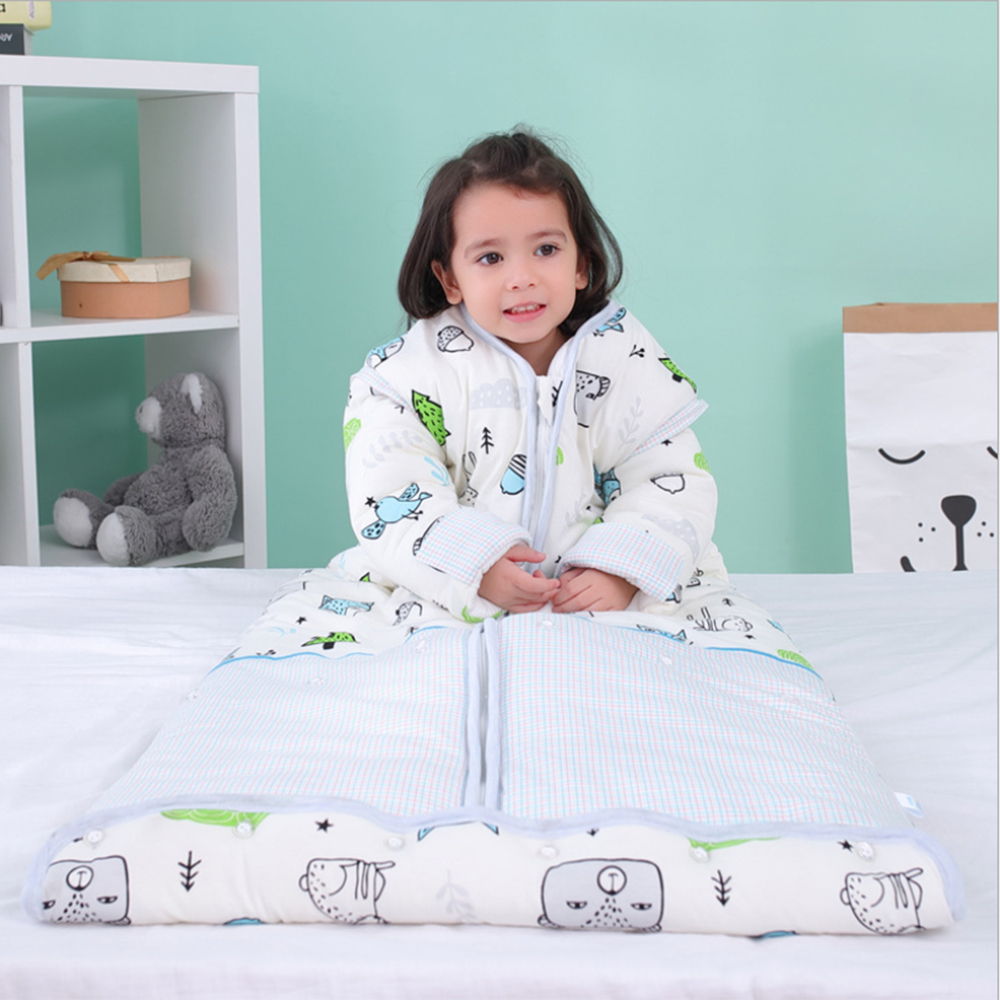 Winter Unisex Baby Thickened Quilt Sleep Bag Wearable Blanket Cotton Sleeping Bag Long Sleeve Nest Nightgowns