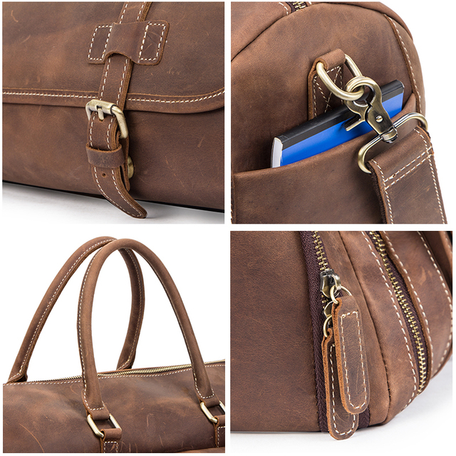 CONTACT'S Travel Men Handbags Crazy Horse Leather Duffle Luggage Bag Large Capacity Vintage Suitcase Tote Bag Male Shouder Bags 6
