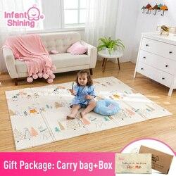 Estera de juego infantil brillante para niños, estera de juego rompecabezas plegable, almohadilla de juego para bebés 200*150*1 cm, estera de gateo de espuma, paquete y colchón de juego