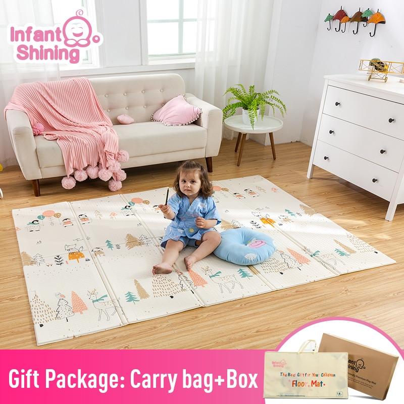 Infantile brillant enfants tapis de jeu pliant Puzzle tapis de jeu tapis de jeu pour les nourrissons 200*150*1cm mousse ramper tapis Pack et jouer matelas
