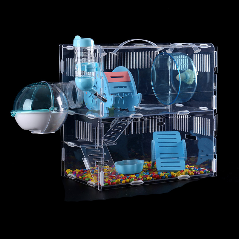 Hamster Cage Transparent Acrylic Oversized Villa   Small  Double Layer Single  Isolation  Rat