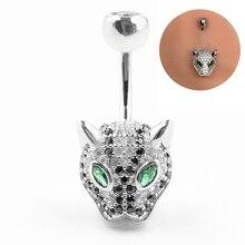 925 sterling silver belly button anel moda leopardo estilo umbigo piercing jóias do corpo para o presente